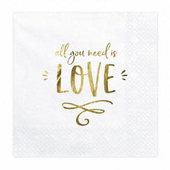 Servetten All you need is love | wit-goud