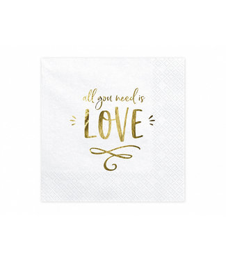 PartyDeco Servetten All you need is love | wit-goud