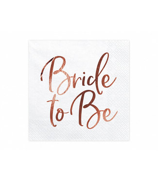 PartyDeco Servetten Bride to be | wit-rosegoud