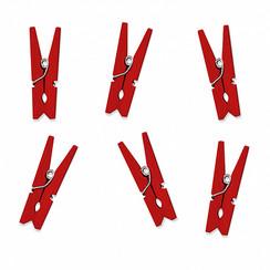 Mini houten knijpers rood | 10 stuks