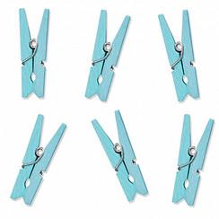 Mini houten knijpers lichtblauw   10 stuks