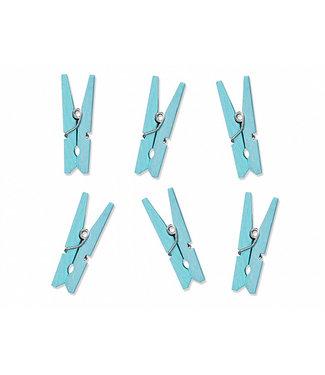 PartyDeco Mini houten knijpers lichtblauw | 10 stuks