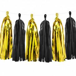Tassel slinger zwart - goud | 1,5 meter