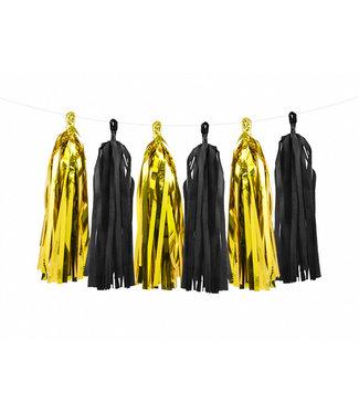 PartyDeco Tassel slinger zwart - goud | 1,5 meter