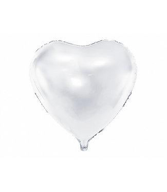 PartyDeco Hartenballon folie | Wit | 45 cm