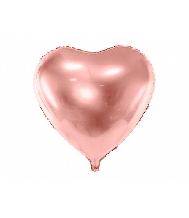 PartyDeco Hartenballon folie | Rose goud | 45 cm