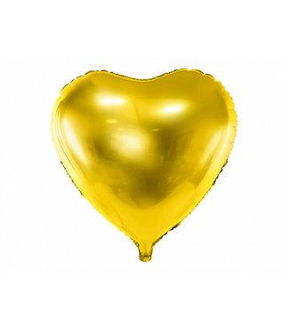 PartyDeco Hartenballon folie | Goud | 45 cm