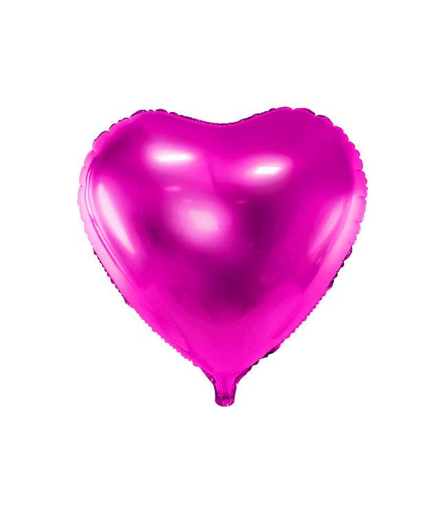 PartyDeco Hartenballon folie | Roze | 45 cm