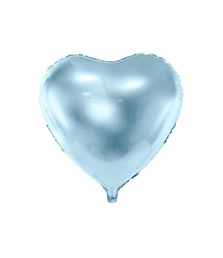 PartyDeco Hartenballon folie | Lichtblauw | 45 cm