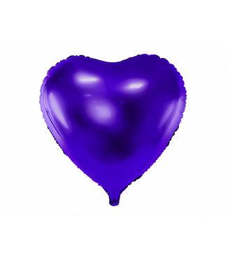 PartyDeco Hartenballon folie | Paars | 45 cm