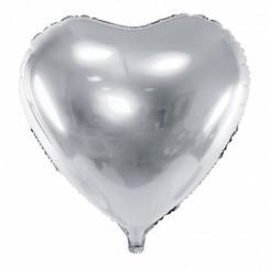 Hartenballon folie | Zilver | 45 cm