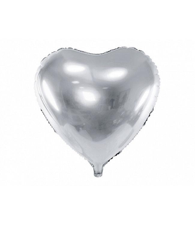 PartyDeco Hartenballon folie | Zilver | 45 cm