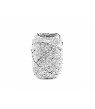 PartyDeco Cadeaulint zilver glitter