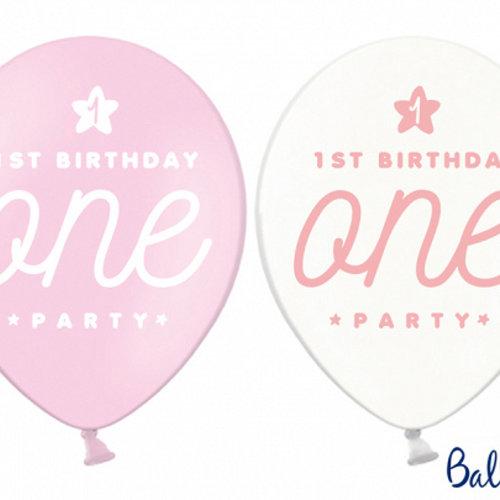 PartyDeco 1st birthday One Ballonnen | Roze  | 6 stuks