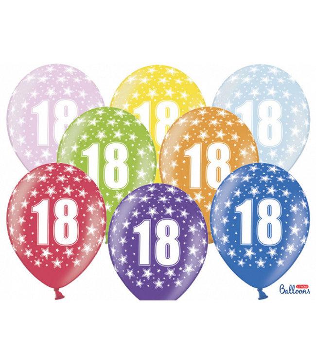 PartyDeco Ballonnen 18 jaar | sterren | 6 stuks