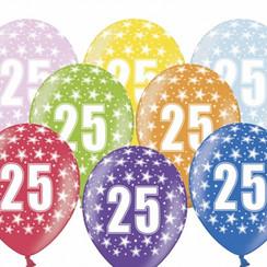 Ballonnen 25 verjaardag | sterren | 6 stuks