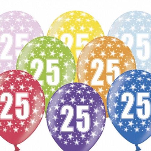 PartyDeco Ballonnen 25 jaar - metallic gekleurd met sterren | 6 stuks
