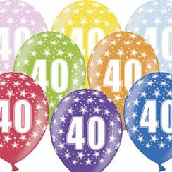 Ballonnen 40 verjaardag | sterren | 6 stuks