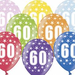 Ballonnen 60 verjaardag | sterren | 6 stuks
