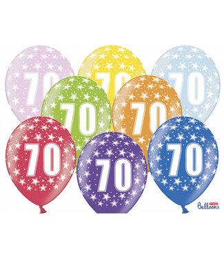 PartyDeco Ballonnen 70 verjaardag | sterren | 6 stuks