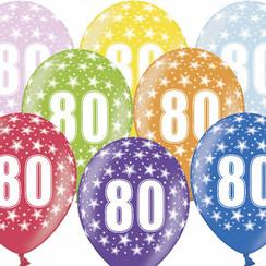 Ballonnen 80 verjaardag | sterren | 6 stuks