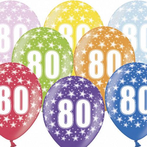 PartyDeco Ballonnen 80 jaar - metallic gekleurd met sterren | 6 stuks