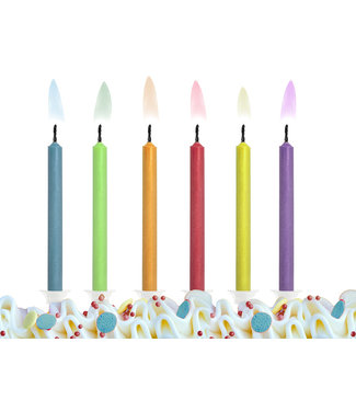 PartyDeco Taartkaarsjes met gekleurde vlam - 6 stuks