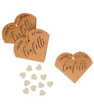 Feestdeco Biologisch afbreekbare bruiloft confetti - Kraft hart