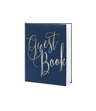 PartyDeco Gastenboek navy met gouden letters | 22 pagina's