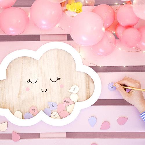 PartyDeco Wolk houten gastenboek   met 30 druppels   Babyshower   Geboorte