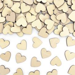 Houten hartjes tafelconfetti 50 stuks