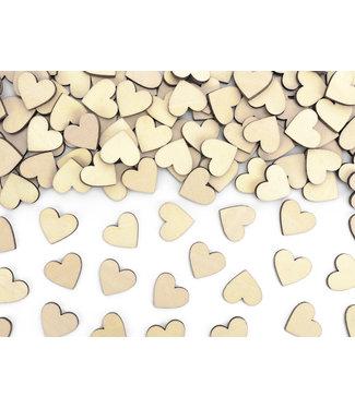 PartyDeco Houten hartjes tafelconfetti 50 stuks