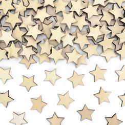 Houten sterretjes tafelconfetti 50 stuks