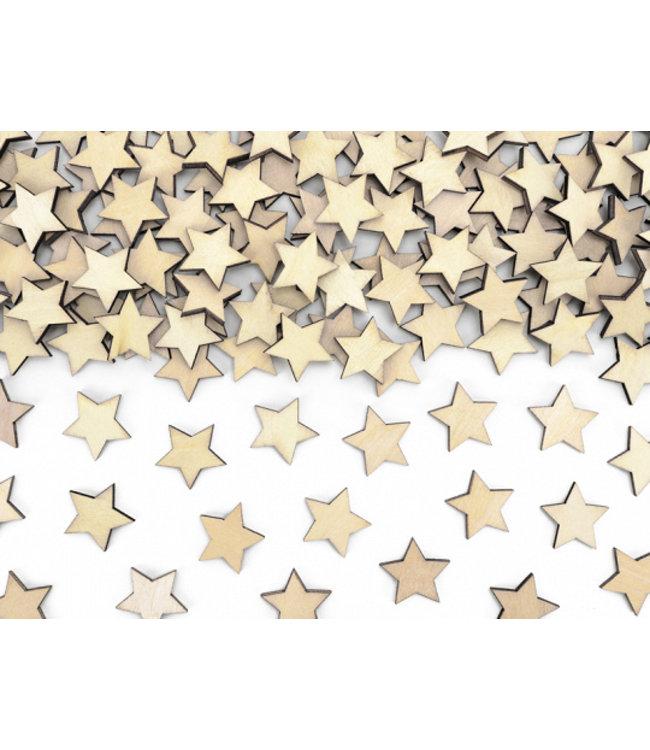 PartyDeco Houten sterretjes tafelconfetti 50 stuks