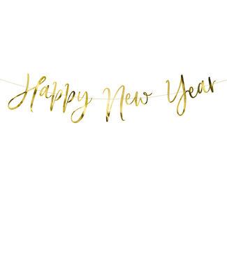 PartyDeco Happy New Year gouden slinger