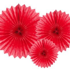 Tissue waaier 3 stuks - rood
