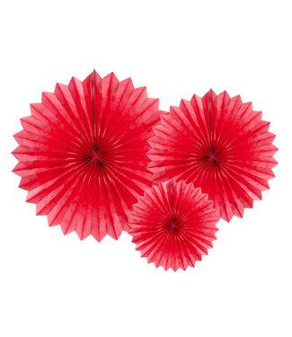 PartyDeco Tissue waaier 3 stuks - rood