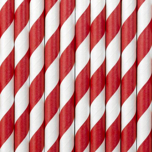 PartyDeco Papieren rietjes rood/wit gestreept - 10 stuks