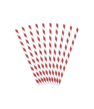 PartyDeco Papieren rietjes rood/wit gestreept