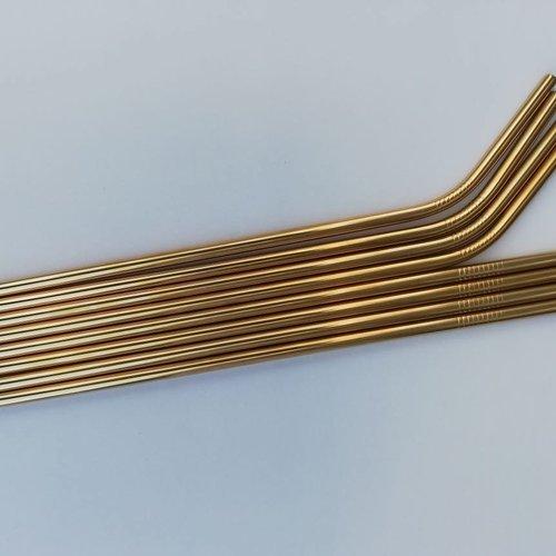 Shookco2 - Eco friendly Herbruikbare rvs rietjes - goud - 8 stuks