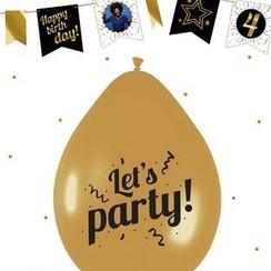 Let's Party ballonnen goud - 6 stuks