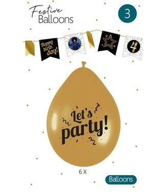 Haza Let's Party ballonnen goud - 6 stuks