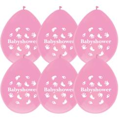 Ballonnen babyshower roze - 6 stuks