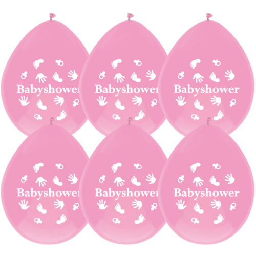 Haza Ballonnen babyshower roze - 6 stuks