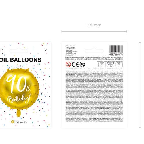 PartyDeco Folieballon 90th birthday - 90e verjaardag