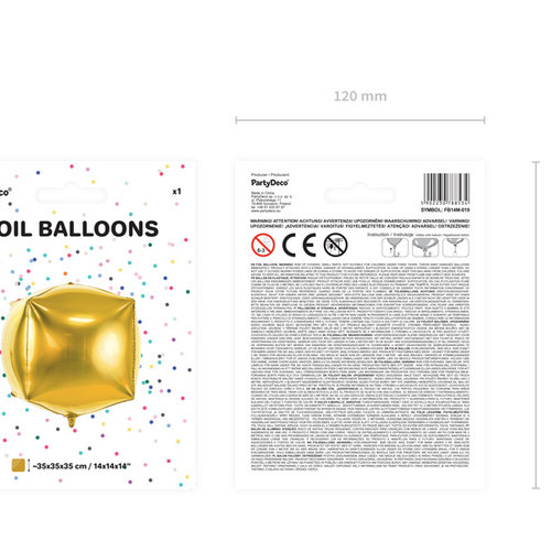 PartyDeco Kubusballon folie | Goud | 35 cm