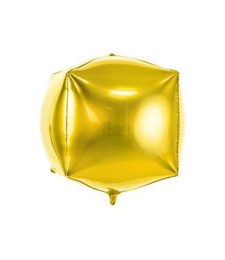 PartyDeco Kubusballon folie   Goud   35 cm