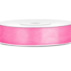 Satijnen lint roze 12mm breed- 25m lang