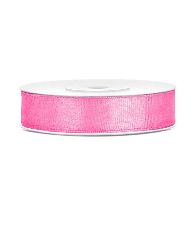 PartyDeco Satijnen lint roze 12mm breed- 25m lang
