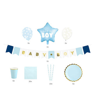 PartyDeco Babyshower/geboorte pakket - It's a boy